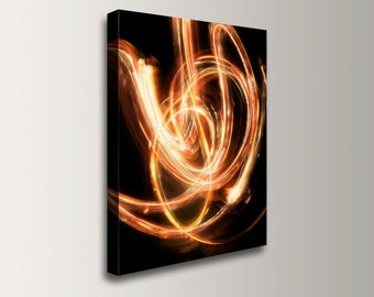 """Gold and Black Art - Canvas Print - Abstract Photography - Modern Wall Decor - """" Flare """""""