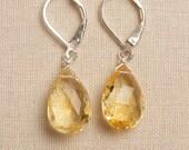 Citrine Earrings, November Birthstone Earrings, Gemstone Sterling Silver Earrings, Golden Yellow Gemstone