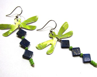 Dragonfly Earrings Recycled Soda Can and Lapis Lazuli Blue and Green