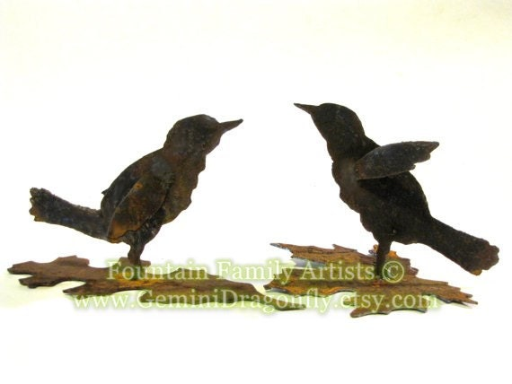 Little Bird Garden Art Recycled Rusty Metal