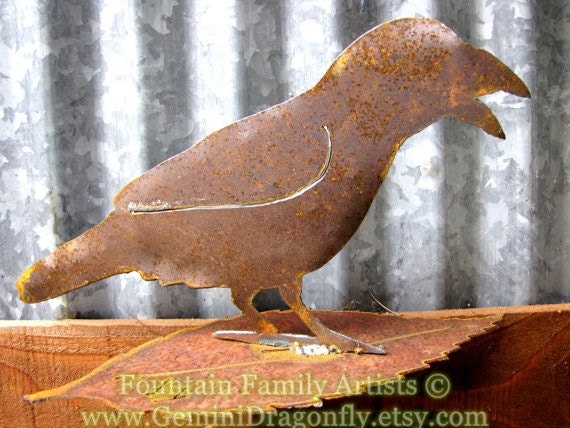 Rusty Crow Raven Metal Garden Art Recycled