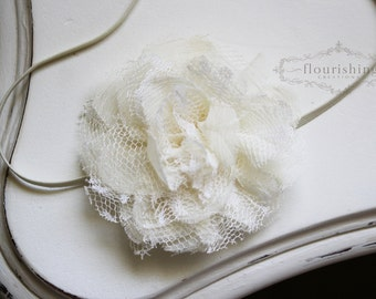 Vintage Ivory Chiffon Lace Flower headbands, baby flower headbands, lace headbands, newborn headbands, photography prop, ivory headbands