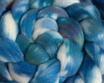 Cool Blue Merino/tussah silk blend.  4oz Hand Dyed Combed Top.