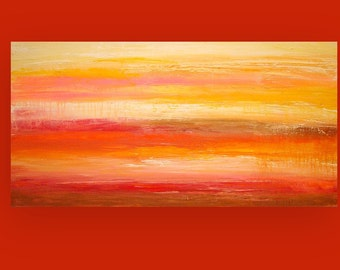 "Acrylic Painting Acrylic Abstract Art On Canvas Titled: Autumn Skies 24x48x1.5"" by Ora Birenbaum"