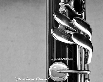 Black and White Photography, Wall Art, Music Art, Clarinet Photos, Still Life Photography, Monochrome Photography, Music Teachers Gift