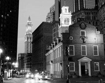 8x10 Old State House and Custom House Clock Tower - Boston, Massachusetts