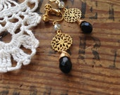 Wire Wrapped Black Teardrop Clip-on Earrings, Raw Brass Filigree, Screw back clip on