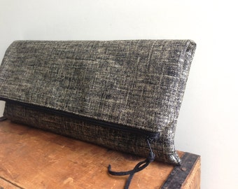 Black with Silver Metallic Linen Clutch, Handmade Zipper Pouch, Fold Over Clutch, Evening Bag