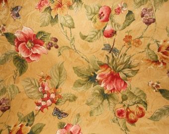 Mustard Yellow Floral Fabric, Yellow/Gold Fruit Fabric, Decorative Butterfly Fabric, Fabric Yardage, (1/2) Yard 18'' Length, 54'' Width