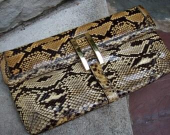 1970s Exotic Sleek Python Clutch Bag