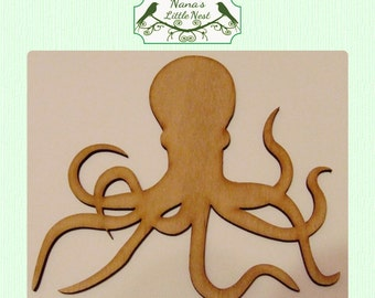 Octopus / Nautical (Medium) Wood Cut Out - Laser Cut