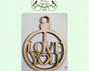 I Love You Laser Cut Wood Ornament