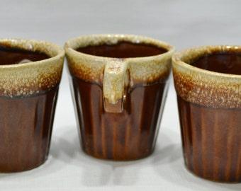 Vintage Brown Drip Glaze Mugs - Overnproof - USA - Set of 3 - Stoneware - Ceramic