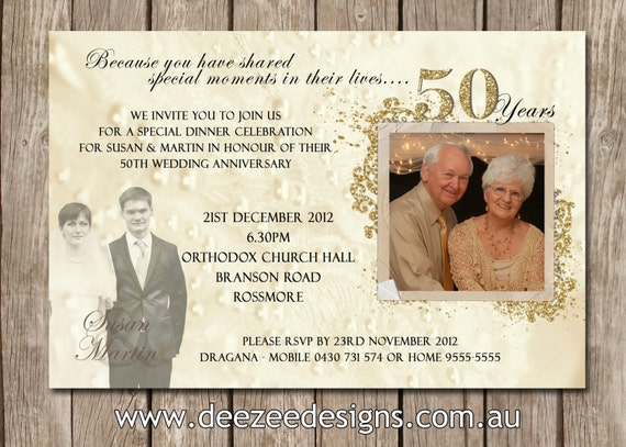50th Wedding Anniversary Invitation Ideas: Photo Personalised 50th Wedding Anniversary By Deezeedesign