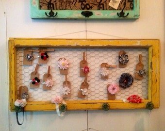 Reclaimed Old Window - Yellow Shabby Chic Chicken Wire Memo Board - Turquoise Vintage Hose Knob - Farmhouse Chic - Bulletin Board -Pin Board