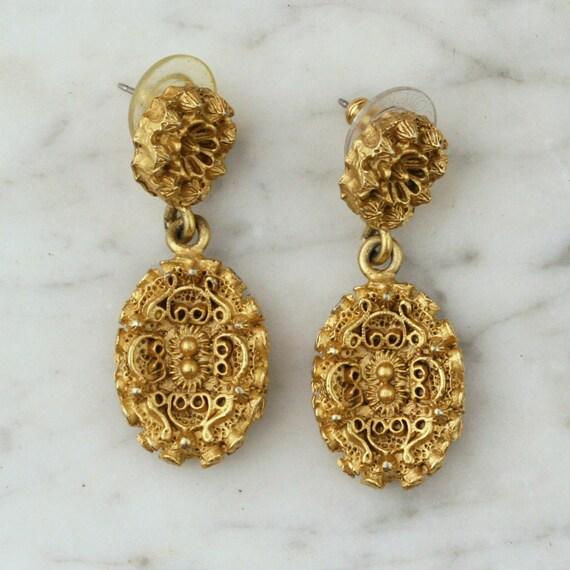 Antique / Vintage Baroque Drop Earrings, Gold Filigree