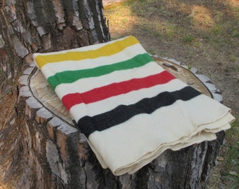RARE Wool Point Blanket - Multistriped Trappers Blanket - Hudson Bay Style - Made by Temple Blanket and Robe Co. Salt Lake City, Utah.