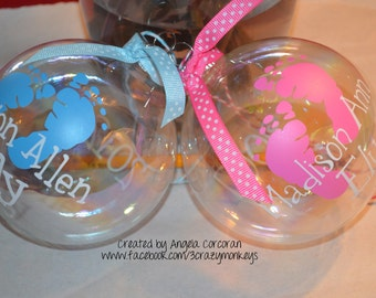 Personalized Baby First 1st Christmas Ornament with Feet Name Date