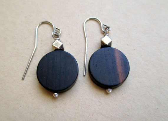 Wood and Sterling Silver Dangle Earrings
