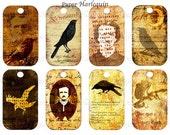 Halloween Gothic Edgar Allen Poe Raven Digital Collage Tags for Crafts, Scrapbook, Decor, Parties