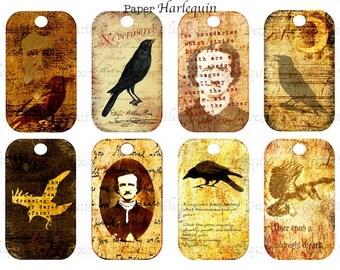 Gothic Edgar Allen Poe Raven Halloween Digital Collage Tags for Crafts, Scrapbook, Decor, Parties
