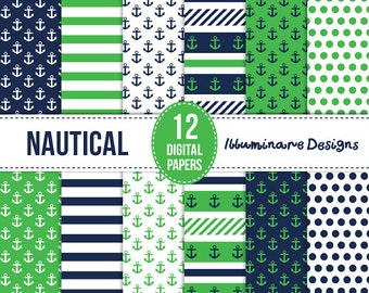 Nautical Digital Paper: Navy Blue and Green Digital Scrapbooking Paper - Anchors, Stripes and Polka Dot Seamless Patterns - Instant Download
