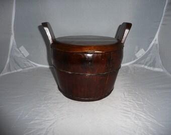 Asian Wooden Rice Bucket