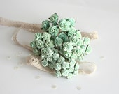 50 pcs - Set of  Mint paper rose / mulberry paper roses
