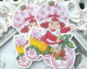 Vintage Strawberry Shortcake Gift Tags (6) - Strawberry Favor Tags-Treat Tags-Strawberry Party-Strawberry Baby Shower-Strawberry Birthday