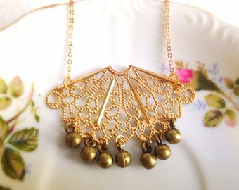 Gold Tone Filigree Necklace. Art Nouveau. Brass Charms. Dainty Gold Chain. Under 20. Gifts for Her. Leaf. Statement Necklace. Deco.