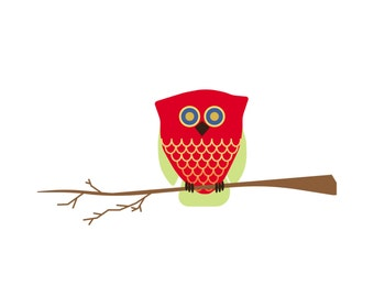 Red Owl Cards - Set of 5 white cards