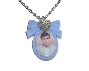 Michael Cera Necklace, Pastel Blue Cameo Necklace, Quirky Kitsch Jewelry