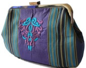 New Evening Purse Clutch Bag Handbag Embroidered Violet and Blue