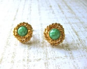 Small Jade Earrings Clip on Green with Gold Roping Faux Vintage Jewellery Fashion Petite