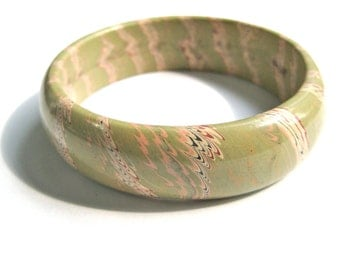 Bangle Bracelet Marbled Hand Painted Green Peach Rust Cream Black Hippie 1970s Boho