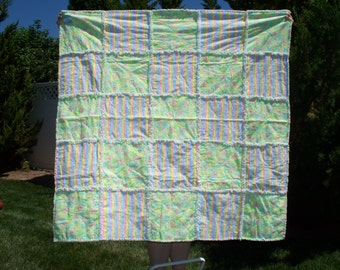 "46"" x 46"" Rag Baby Quilt for Girl.  Flannel with Yellow, Green, Blue and Pink with Flowers and Stripes."