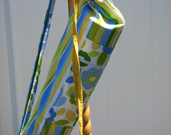 Yoga Bag - Blue Yellow Green White Stripes and Flowers with 2 straps and a large zippered pocket
