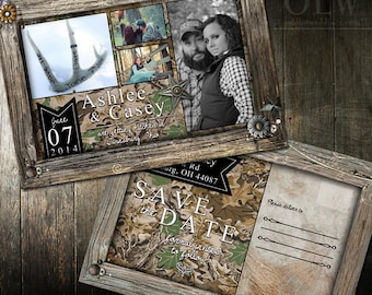 Camouflage Save the Date Rustic Brown Frame postcard Photo Save the Date Postcard Camo Sportman Save the Date wedding Printable