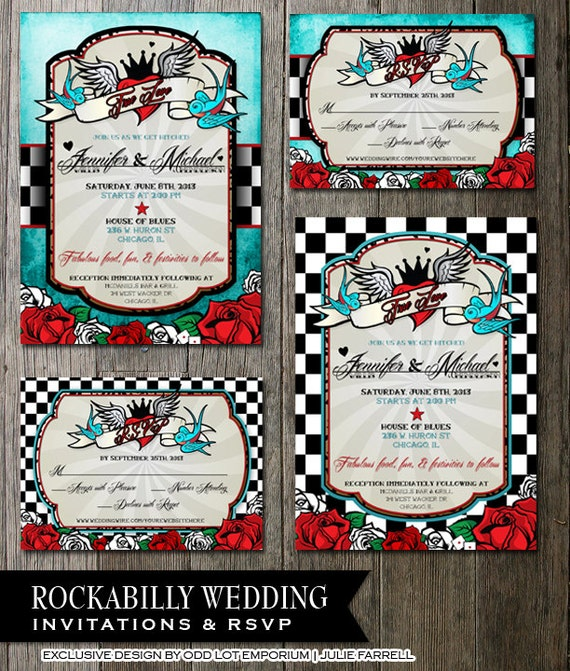 rockabilly wedding invitations and rsvp offbeat wedding,
