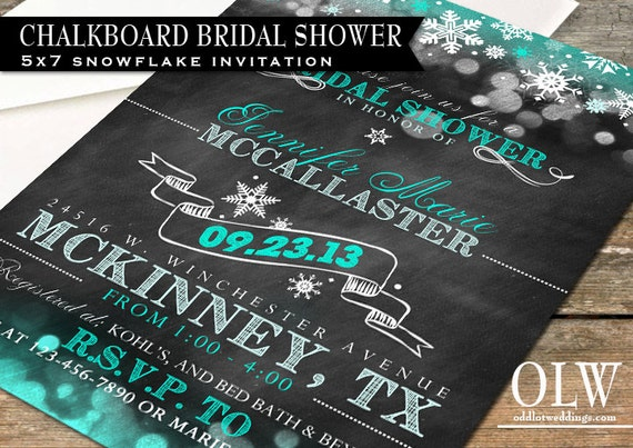Bridal Shower Invitation - Chalkboard Bridal Shower Invitation with snowflakes and great typography -Digital File