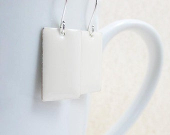 Dangle Drop Earrings - Creamy White Epoxy Enamel Rectangles - Sterling Silver Plated over Brass (F-7)
