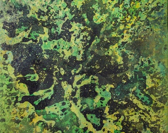 "Original Abstract Painting on Canvas 16x20 ""Over Bight"" Small. Green."