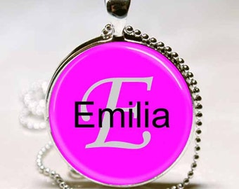 Emilia Name Pendant Name Monogram Handcrafted  Necklace Pendant (NPD1495)