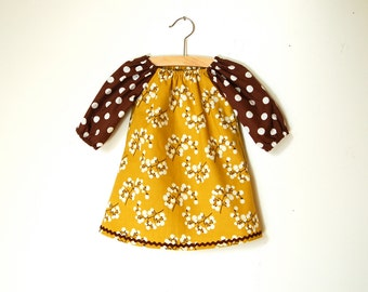 Girls 3/4 Sleeve Tunic Dress / Mustard Gold Berries with Brown Sleeves / Made to Order