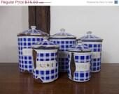 CLOSING DOWN SALE blue and white decor - enamel storage jars - vintage french enamelware - enamel storage jars - enamel canisters - storage