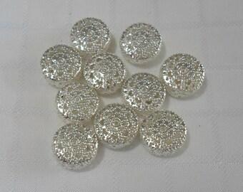 274 Perle en filigrane, rond, argenté, 19mm x 8.5mm trou 1.5mm (10 pièces)