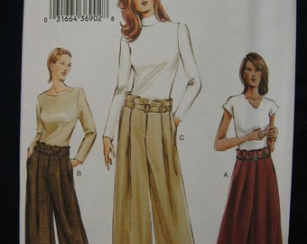Vogue Misses Womens Loose Fit Pleated Pants Skirt Pattern 7768 Size 6 8 10 UC FF Uncut Retro