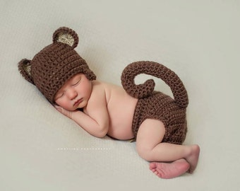 Newborn Baby Sock Monkey Hat Set - Photo Props, Photography Props, Boys, Girls (Available in Different Color)