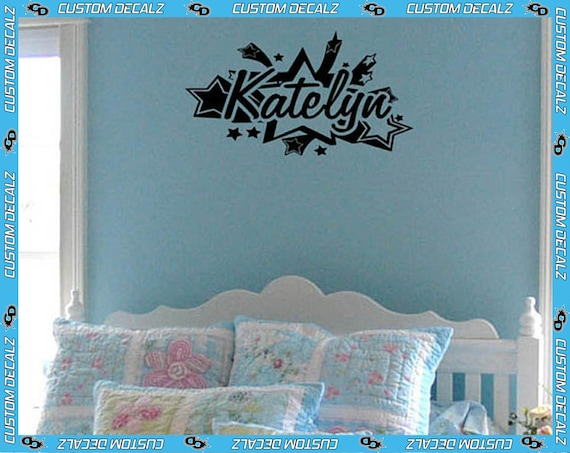 """18"""" wide Personalized Name surrounded by Stars - Vinyl Wall Decalz"""