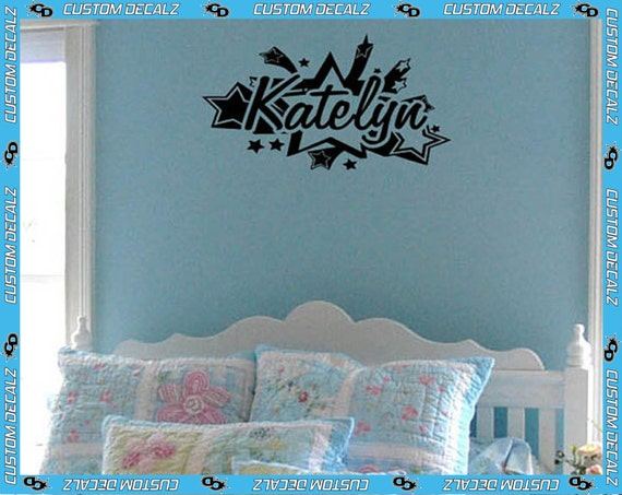 """18"""" Shooting Stars w Name Vinyl Wall Decal / Bedroom Decal / Girl Decal / Teen Decal / Tween Decal / Bedroom Decor / Large Wall Decal"""